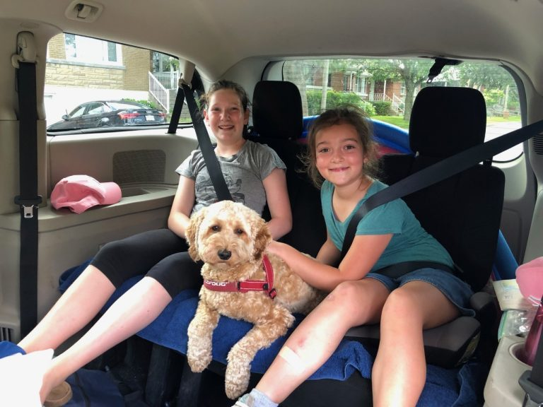 Girls with cockapoo Ginger